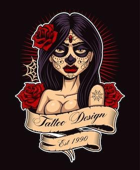 Chicano tattoo mädchen. tattoo-design, perfekt für den druck auf hemd. alle elemente, texte und farben befinden sich auf einer separaten ebene und können leicht bearbeitet werden. (farbversion auf dunklem hintergrund).