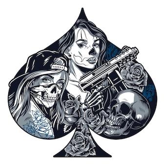 Chicano tattoo-monochrom-konzept in form von spielkarten-pik mit hübschen mädchen-schädel-rosen-skelett-hand, die automatische pistole im vintage-stil isolierte vektorillustration hält