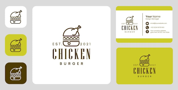 Chicken burger logo mit stationärem design