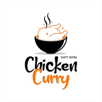 Chicken curry logo indisches essen vektor