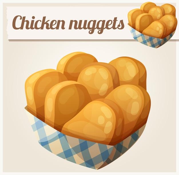 Chicken nuggets im detaillierten vektorsymbol des papierkorbs