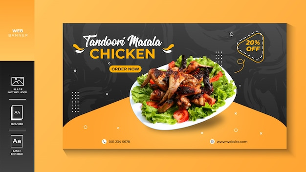 Chicken restaurant web banner premium
