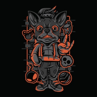 Chihuahua kid neon graustufen-illustration
