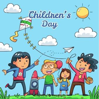 Childrens day-konzept mit kindern spielen