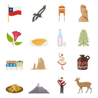 Chile-flache farbige ikonen