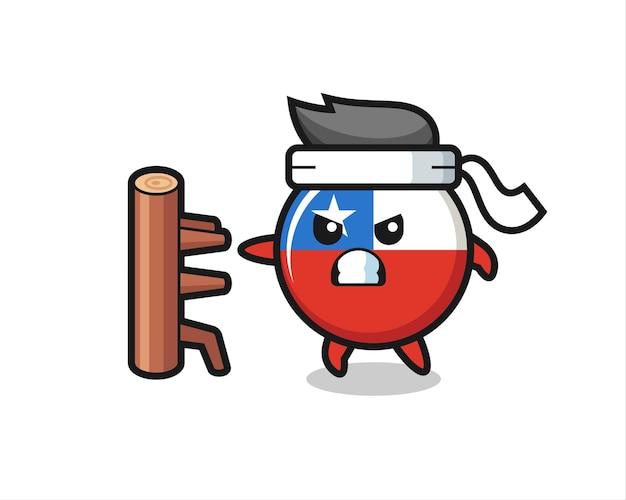 Chile-flaggenabzeichen-cartoon-illustration als karate-kämpfer, niedliches design für t-shirt, aufkleber, logo-element
