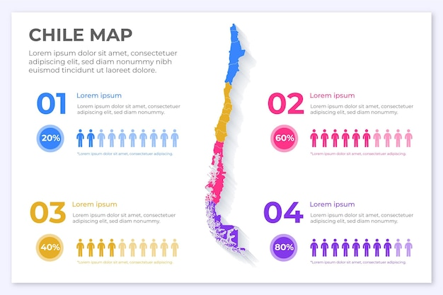 Chile karte infografik in flachem design