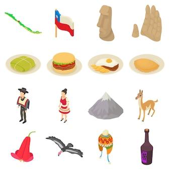 Chile-reiseikonen eingestellt. isometrische illustration von 16 chile-reisevektorikonen für netz
