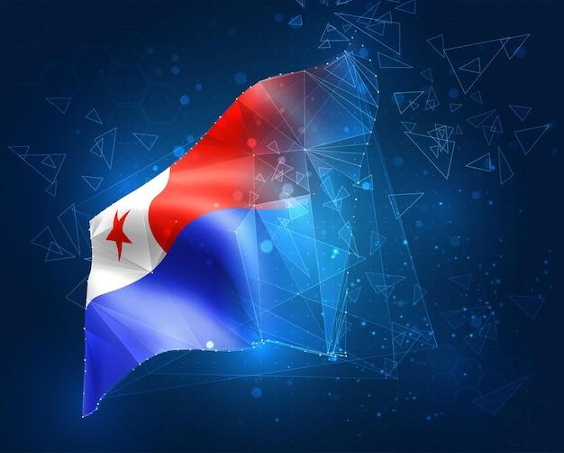 Chile, vektorflagge, virtuelles abstraktes 3d-objekt aus dreieckigen polygonen auf blauem hintergrund