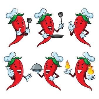 Chili chef cartoon set