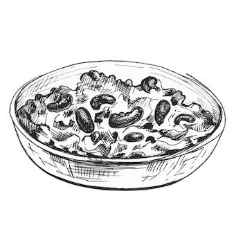 Chili con carne in schüssel mexikanisches traditionelles essen vector monochrome vintage schraffurfarbe