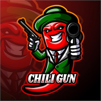 Chili esport logo maskottchen design