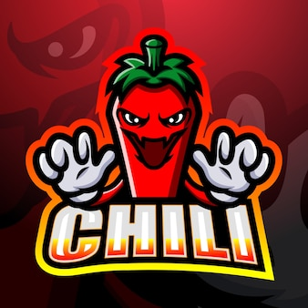 Chili maskottchen esport illustration