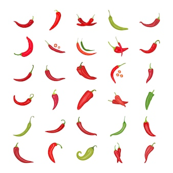 Chili pepper flat icons