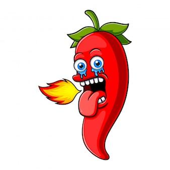 Chili-pfeffer-charakter-design oder chili-pfeffer-maskottchen