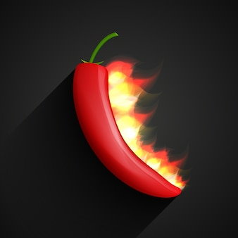 Chili-pfeffer im feuer