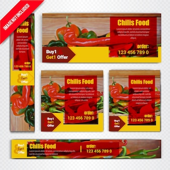 Chilis-web-fahnen-set für restaurant