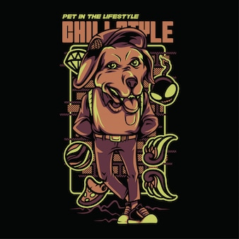 Chill style golden retriever illustration