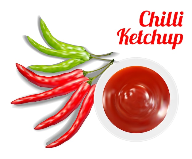 Chilli ketchup sauce in schale mit chili