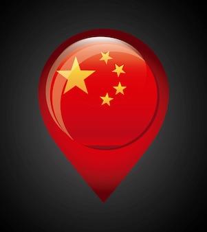 China-design über schwarzer hintergrund-vektorillustration