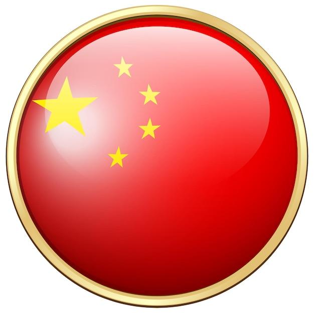 China-flagge auf rundem rahmen