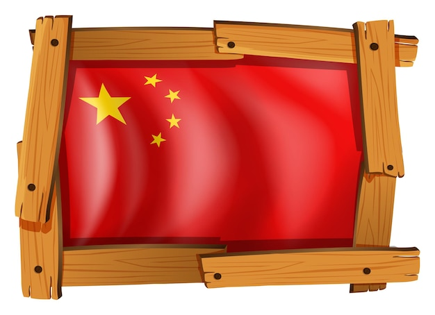China-flagge im quadratischen rahmen