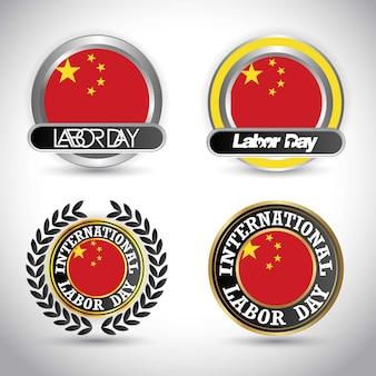 China-flagge mit arbeitstagesdesignvektor