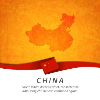 China-flagge mit zentraler karte