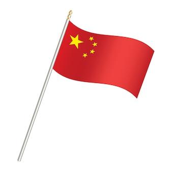 China flagge und stick auf einem weißen hintergrund