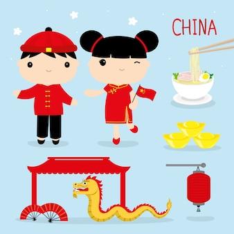 China-traditions-asien-maskottchen-jungen-und mädchen-karikatur-vektor