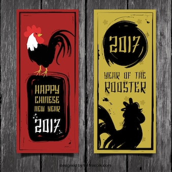 Chinese new year banner mit tinte hähnen