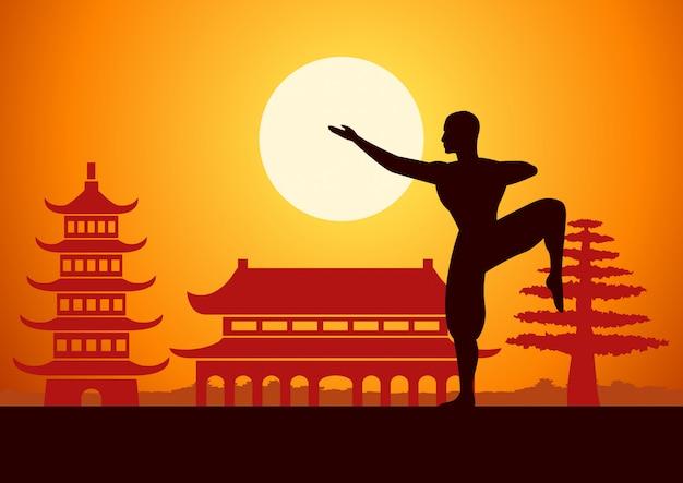 Chinesische box kung fu kampfkunst berühmten sport