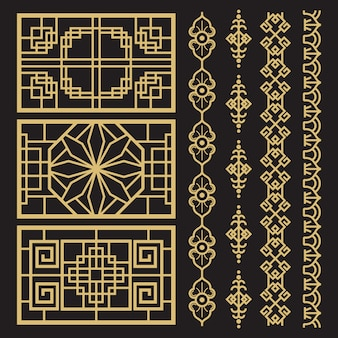 Chinesische dekoration, traditionelle antike koreanische grenzen und rahmen