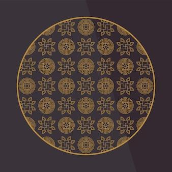 Chinesische dekorationselemente. rahmen, bordüre oder fliesen mit mustern.