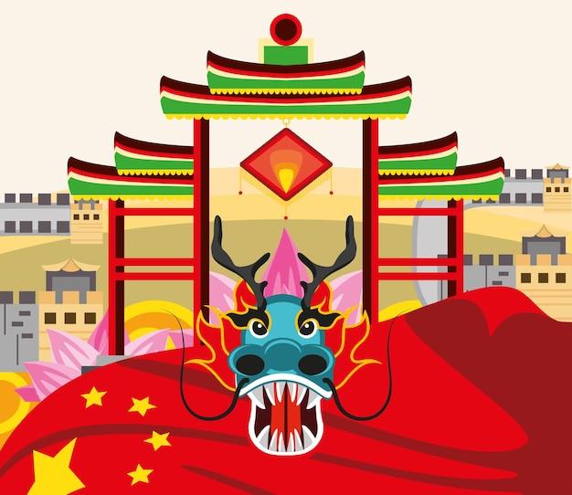 Chinesische drachentor-fahnenlaterne