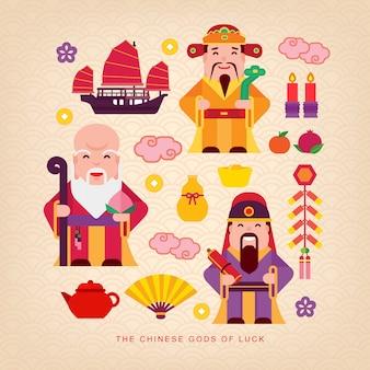 Chinesische glücksgötter