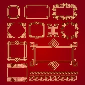 Chinesische grenzen. gold auf roten asiatischen neujahrs dekorativen traditionellen rahmen