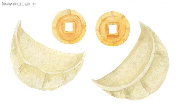 Chinesische grübchen und glücksmünzen