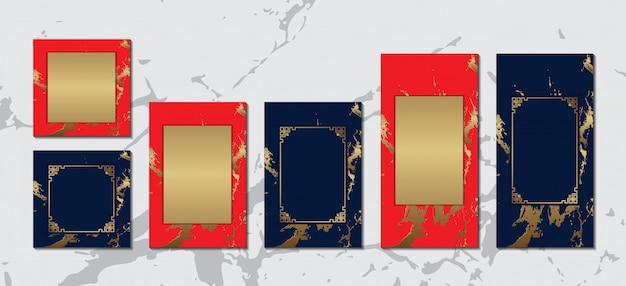 Chinesische grußkarte mit goldrahmen auf roter blauer marmorluxussammlung für textnachrichtendesign