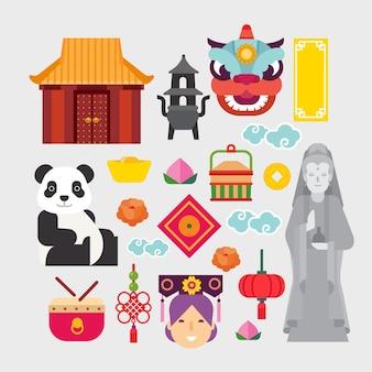 Chinesische ikonen eingestellt