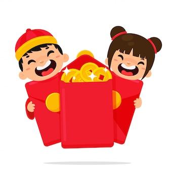 Chinesische karikaturkinder, die glücklich sind, nachdem ein angpao empfangen worden ist