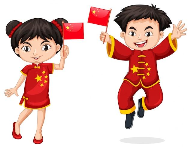 Chinesische kinder, die flagge halten