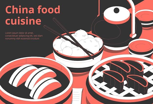 Chinesische küche plakatschablone