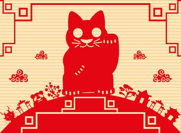 Chinesische kulturkarte der roten katze