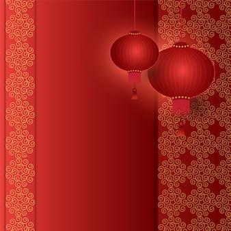 Chinesische laterne, die mit muster hängt