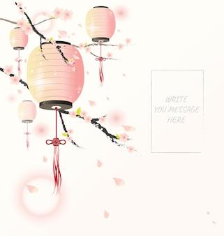 Chinesische laterne mit kirschblütenbaum