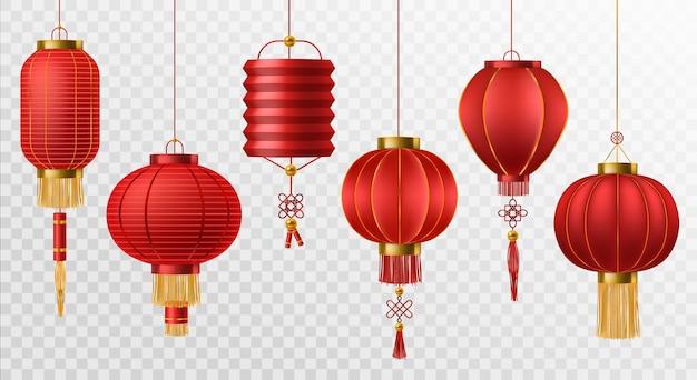 Chinesische laternen. japanisches asiatisches neujahrsfest der roten lampen