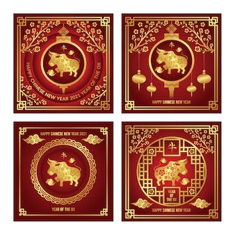 Chinesische neujahrs-instagram-post-sammlung