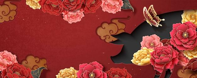 Chinesische neujahrsbanner-vorlage mit pfingstrosenblüten und schweinchenform hohl