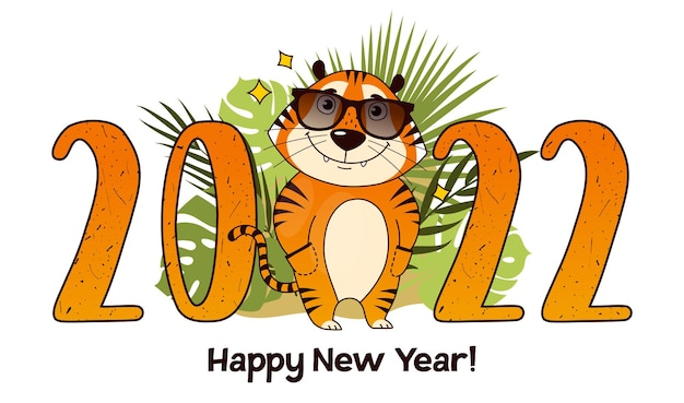 Chinesische neujahrsgrußkarte 2022 mit niedlichem cartoon-tiger